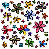 Whimsical Doodle Floral Background Design stock illustration