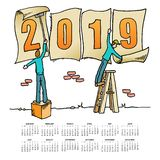 Whimsical drawing 2019 calendar. stock illustration