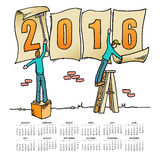 Whimsical drawing 2016 calendar Royalty Free Stock Photos