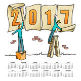 Whimsical drawing 2017 calendar Royalty Free Stock Photos