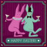 Whimsical easter bunny couple Royalty Free Stock Image