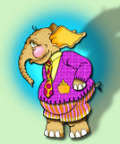 Whimsical elephant cartoon royalty free stock photography