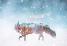 Whimsical Fantasy Fox Illustration, Dreamy Portrait, stock illustration