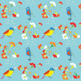 Whimsical floral background with birds Stock Image
