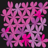 Abstract Whimsical Flower Background. Whimsical Floral  Background, Pink Flower on Black, Exquisite Gentle Floral Graphic Ornament, Minimalistic Fashion Ornament Royalty Free Stock Images