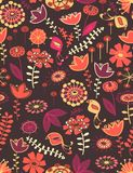 Whimsical floral seamless pattern. Whimsical vector floral seamless pattern Royalty Free Stock Images