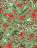 Whimsical floral seamless pattern. Seamless pattern with hand draw flowers Royalty Free Stock Photography