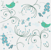 Whimsical floral wallpaper Royalty Free Stock Photos