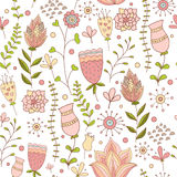 Whimsical Flowers Seamless Pattern. Vector Illustration Royalty Free Stock Photo