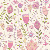 Whimsical Flowers Seamless Pattern. Vector Illustration Stock Image