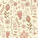 Whimsical Flowers Seamless Pattern. Royalty Free Stock Photo