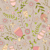 Whimsical Flowers Seamless Pattern. Stock Images