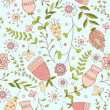 Whimsical Flowers Seamless Pattern. Royalty Free Stock Photography