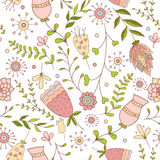 Whimsical Flowers Seamless Pattern. Stock Photo