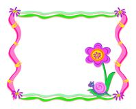 Whimsical Frame with Snail and Flower Royalty Free Stock Photo