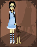 Whimsical Girl. Illustration of a spooky strange girl standing in a corner dragging a stuffed bunny vector illustration
