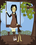 Whimsical Girl. Illustration of a spooky strange girl on a swing outdoors dragging a stuffed bunny stock illustration
