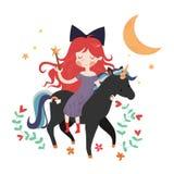 Whimsical girl on black unicorn vector illustration