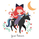 Whimsical girl on black unicorn Royalty Free Stock Photos