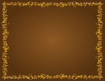 Whimsical Golden Border, Brown Background Stock Image