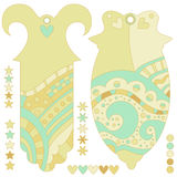 Whimsical green tags, stars and hearts Stock Photos