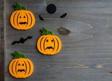 Whimsical Halloween background image of handmade felt jack-o-lantern Stock Photography