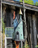 Whimsical Hand carved Birdhouse Castle Stock Photography