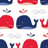 Whimsical, Hand-Drawn with Crayons, Red and Blue Whales in Sea Vector Seamless Pattern for Kids and Babies vector illustration