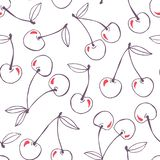 Whimsical hand-drawn doodle cherries vector seamless pattern background. Line Art Summer Fruits stock illustration