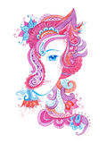 Whimsical hand drawn illustration with watercolor zentangles, female portrait Stock Photography