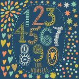 Whimsical hand drawn numbers, from one to zero. Hand-drawn numbers. Vector sketch illustration isolated on white background. Stock Images