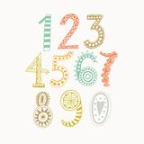 Whimsical hand drawn numbers, from one to zero. Hand-drawn numbers. Vector sketch illustration isolated on white background. Royalty Free Stock Photos