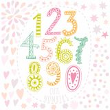Whimsical hand drawn numbers, from one to zero. Hand-drawn numbers. Vector sketch illustration isolated on white background. Stock Image