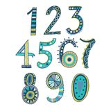 Whimsical hand drawn numbers, from one to zero. Hand-drawn numbers. Vector sketch illustration isolated on white background. Stock Photos