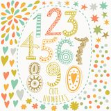 Whimsical hand drawn numbers, from one to zero. Hand-drawn numbers Vector sketch illustration isolated on white background Royalty Free Stock Photo