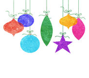 Whimsical Hanging Christmas Ornaments Royalty Free Stock Photo