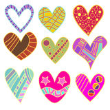 Whimsical heart collection royalty free illustration