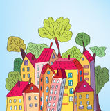 Whimsical Houses And Trees Royalty Free Stock Images