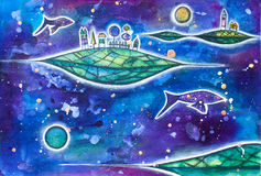 Whimsical houses in cosmos with planets and fishes. Royalty Free Stock Photo