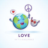 Whimsical illustration of Earth and moon celebrating peace Royalty Free Stock Photos