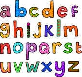 Whimsical Lowercase Alphabet. A set of 26 letters of the alphabet drawn in a whimsical cartoon doodle style Royalty Free Stock Photography