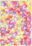 Whimsical multicolored tulips. Transparent tulips on a light surface in a crazy style Stock Photo