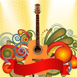 Whimsical Music Theme. Detailed illustration of an acoustic guitar with a whimsical flare Stock Image