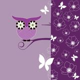 Whimsical Owl. Sitting on a branch with flower blossoms and butterflies vector illustration
