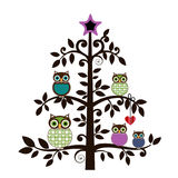 Whimsical owls in a tree. Whimsical owls perched in a tree - family, friendship concept Royalty Free Stock Photo