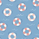 Whimsical, Pastel-Colored Hand-Drawn with Crayons, Lifebuoys in Sea Vector Seamless Pattern for Kids and Babies stock illustration