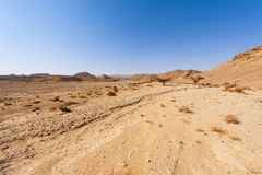 Whimsical Patterns of the Desert. Rocky hills of the Negev Desert in Israel. Breathtaking landscape of the rock formations in the Southern Israel. Dusty royalty free stock images