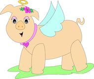 Whimsical Pig Angel Royalty Free Stock Images