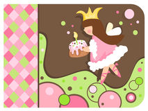 Whimsical Princess holding a cupcake. Illustration of a whimsical girly princess holding a cupcake with background. Colors in brown, green, and pink royalty free illustration