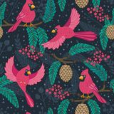 Whimsical repeating pattern. Christmas and winter theme. Red Cardinal birds, pinecones, berries and branches.